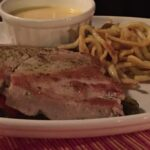 Best pub food. Juicy tuna steak with fried Egg White noodles. They retained some of their German heritage.(so to speak)