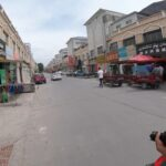 Walking through the streets in Hami